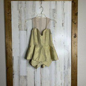 Abi Ferrin Gold peplum asymmetrical blouse small